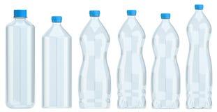 Samling av isolerade vattenflaskor royaltyfri illustrationer