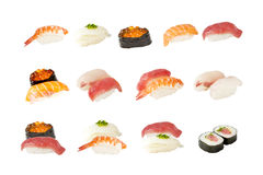 Samling av isolerade japanska sushi Arkivbilder