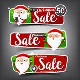 Samling av jul Sale rött och grönt rengöringsduketikettsbaner vektor illustrationer