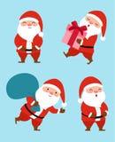 Samling av jul Santa Claus klar vektor för nedladdningillustrationbild Arkivfoto
