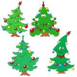 Samling av julgranar Teckenjulgran Arkivbild
