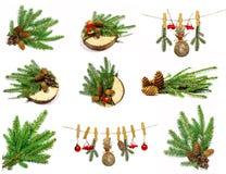Samling av julobjekt som isoleras på vit Arkivfoton