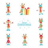 Samling av julrenen Plan vektorillustration Arkivbild
