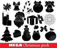 Samling av julsymboler Arkivfoton