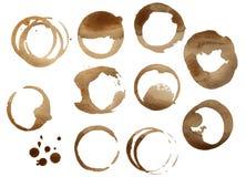 Samling av kaffefläckcirklar Arkivfoton