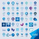Samling av kalla vektorlogoer och frost Royaltyfri Bild