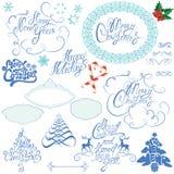 Samling av kalligrafi för jul och för nytt år Arkivfoto