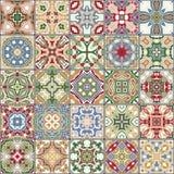 Samling av keramiska tegelplattor royaltyfri illustrationer