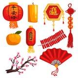 Samling av kinesiska garneringbeståndsdelar för nytt år, lykta, mynt, stearinljus, firecrackers, fan som blommar den sakura filia vektor illustrationer