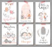 Samling av klara designkort för gullig romantiker Valentindag, e royaltyfri illustrationer
