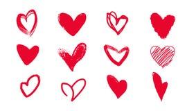 Samling av klotterhjärtor för valentin dag Arkivfoton
