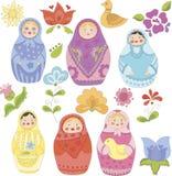 Samling av klottermatryoshkadockor och blommor stock illustrationer