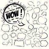 Samling av komiska stilanförandebubblor. Vektor. Arkivbilder