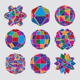 Samling av komplexa dimensionella sfärer och abstrakt geometriskt Royaltyfri Fotografi