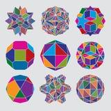 Samling av komplexa dimensionella sfärer och abstrakt geometriskt Royaltyfri Foto