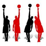 Samling av konturbasketspelare, rött och svart, håll royaltyfri illustrationer