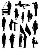Samling av konturer av folk Royaltyfri Bild