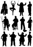 Samling av konturer av folk av olika yrken Arkivbilder