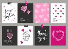 Samling av 8 kort av förälskelsedesign Valentin se för dagaffischer Royaltyfri Bild