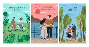 Samling av kort med gulliga romantiska par på datumet som rider den tandema cykeln, hållande ögonen på solnedgång som går inst?ll vektor illustrationer