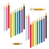 Samling av kulöra blyertspennor på en vit bakgrund royaltyfri illustrationer