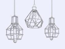Samling av kulor och lampor för tappningsymboler ljusa Edison Light stock illustrationer