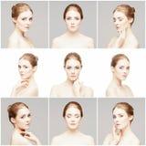 Samling av kvinnliga brunnsortstående Framsidor av olika kvinnor Arkivfoto