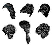 Samling av kvinnliga frisyrer för kort, långt och medelhår Frisyrer är trendiga, härliga och stilfulla För brunetter vektor illustrationer