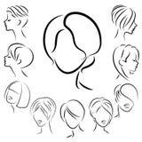 Samling av kvinnliga frisyrer f?r kort, l?ngt och medelh?r Frisyrer ?r trendiga, h?rliga och stilfulla F?r brunetter stock illustrationer