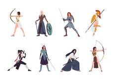 Samling av kvinnliga krigare från skandinav, grek, egyptier, asiatisk mytologi och historia Uppsättning av att bära för kvinnor royaltyfri illustrationer