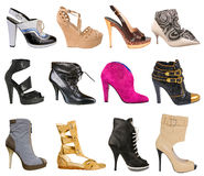 Samling av kvinnors skor royaltyfria foton