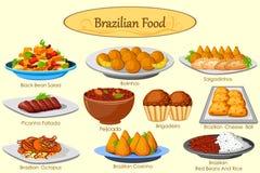 Samling av läcker brasiliansk mat Fotografering för Bildbyråer