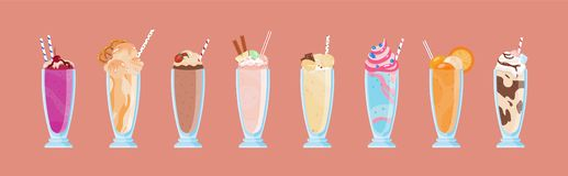 Samling av läckra milkshakar i exponeringsglas med sugrör Packe av söta kalla smakliga drycker som dekoreras med frukter royaltyfri illustrationer
