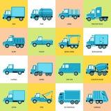Samling av lastbilsymboler i plan stil royaltyfria bilder