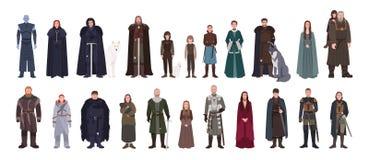 Samling av leken av manliga för biskopsstolar roman och för TV-serie iklädda uppdiktade och kvinnliga tecken eller män och kvinno royaltyfri illustrationer