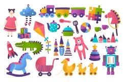 Samling av leksaker för barns utveckling och underhållning som isoleras på vit bakgrund Packe av hjälpmedel för unge` s stock illustrationer