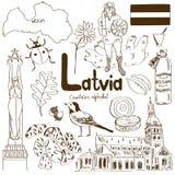 Samling av Lettland symboler Fotografering för Bildbyråer