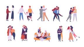 Samling av LGBT eller konstiga par och familjer med barn Packe av manliga, för kvinnlig och för transgender romantiska partners royaltyfri illustrationer