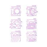 Samling av linjen symboler med symboler av väder Arkivfoto