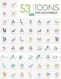 Samling av linjära abstrakta logoer Arkivbilder