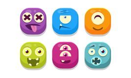 Samling av ljusa knappemoticons med olika sinnesrörelser, illustration för emojimonstervektor vektor illustrationer