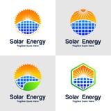 Samling av logoen för sol- energi royaltyfri illustrationer