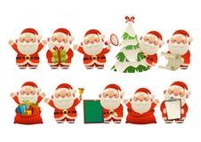 Samling av lycklig gullig jul Santa Claus royaltyfri illustrationer