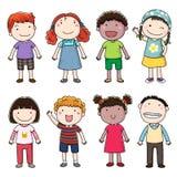 Samling av lyckliga barn Royaltyfri Bild