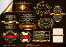 Samling av lyx guld-inramninga etiketter Royaltyfri Illustrationer