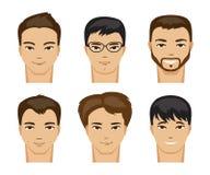 Samling av män med olika frisyrer också vektor för coreldrawillustration Arkivfoto