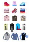 Samling av mäns skjortor och tröjor Royaltyfria Bilder