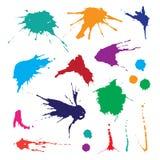 Samling av målarfärgfärgstänk Vektoruppsättning av borsteslaglängder På vitbakgrund Royaltyfri Bild