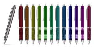 Samling av mång--färgade bollpennor, isolerad illustration Arkivbild