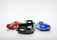 Samling av mång- färgade moderna bilar Arkivbild